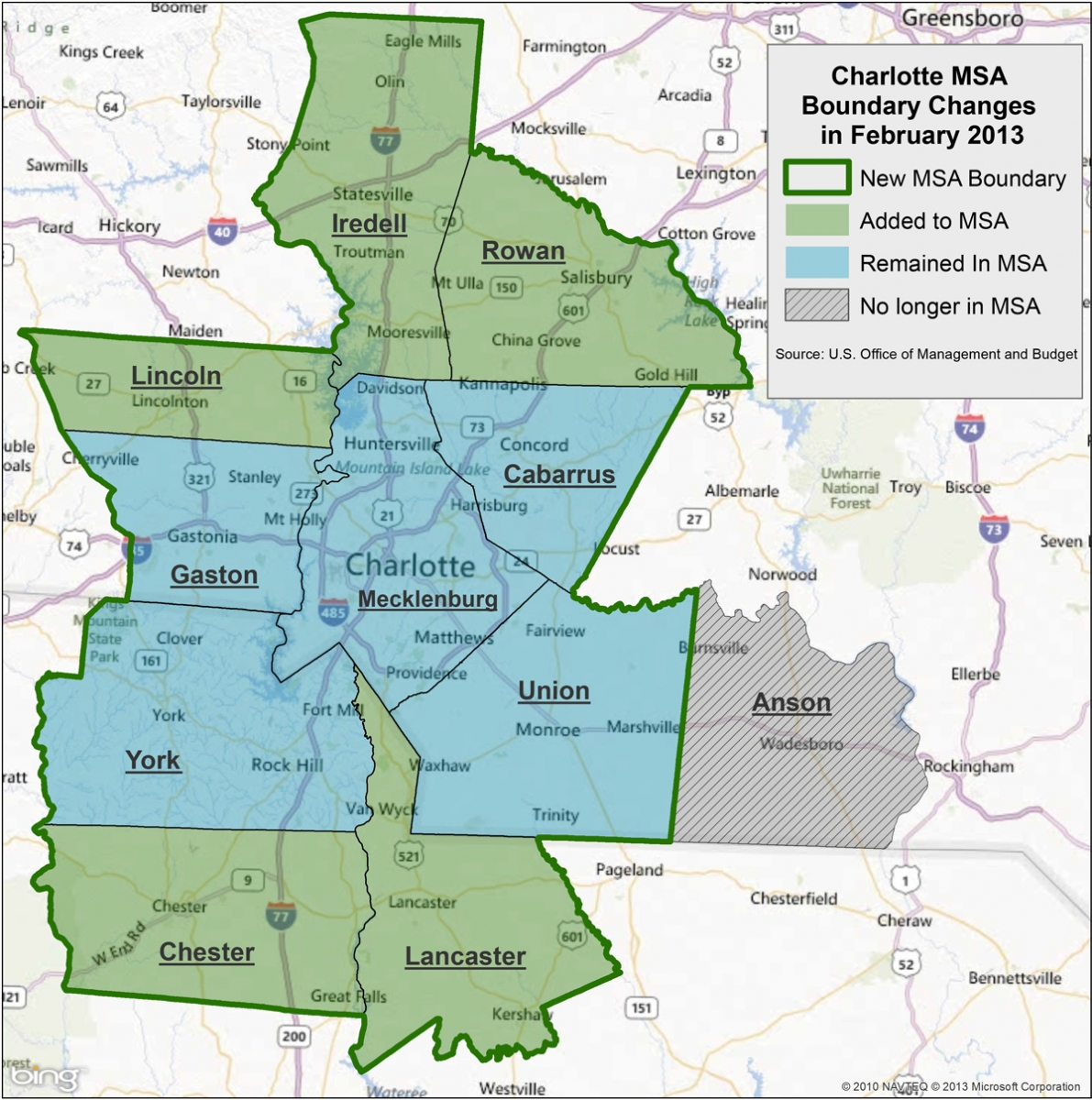 Boundary Change Boosts Charlotte Metro Population PlanCharlotteorg - Us msa map