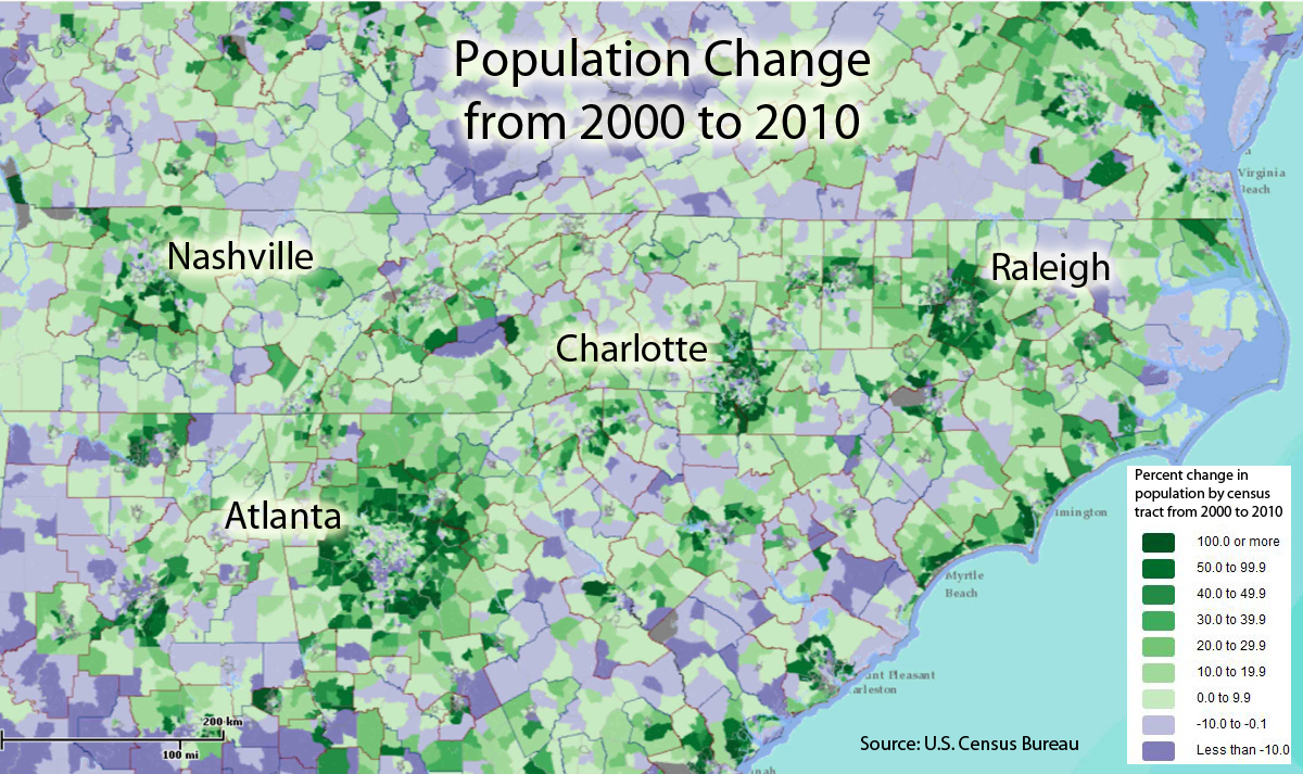 Charlotte Population Growth A Clearer Picture PlanCharlotteorg - Map of us population change 2000