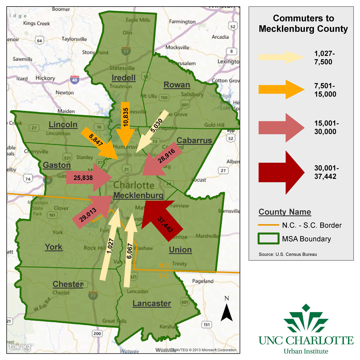 Commuting in Charlotte region Where do people work