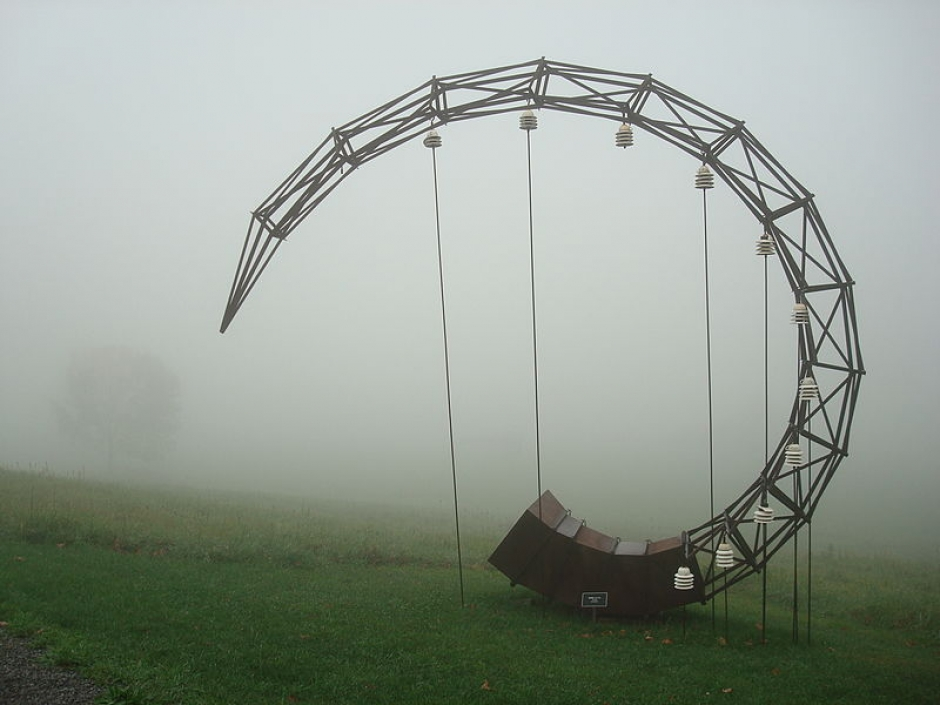 "Frank Gonzales's ""Gnomen"" 1995, installed at Stone Quarry Hill Art Park. Photo: Wikipedia"