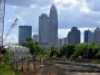 Uptown Charlotte skyline, seen from the bridge over the CSX freight line. Photo: Nancy Pierce. 6-11-15