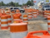Construction barrels along North Tryon Street at Tom Hunter Road. Photo: Nancy Pierce 6-11-15