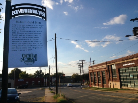 Sign on Summit Avenue in South End highlights gold mine history. Photo: Mary Newsom