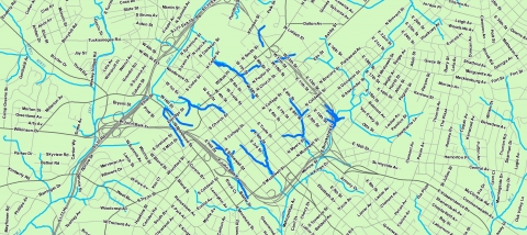Map of creeks uptown, from 1877 and today. Map: Garrett Nelson