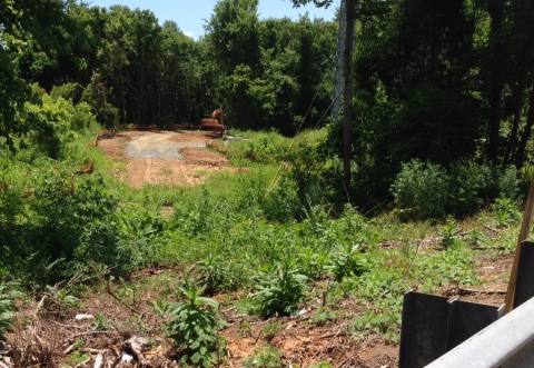 Heavy equipment at construction site for Toby Creek Greenway Phase 2. Photo: Mary Newsom
