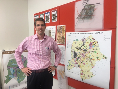 Ed McKinney and a map