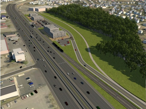 Illustration of light rail along Independence Boulevard, looking east from the Wendover Road Intersection. Image: CATS