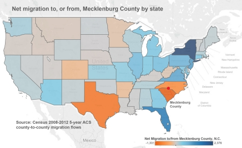 New York and Florida top the list in numbers of people who move to Mecklenburg County, home to Charlotte. Image: John Chesser