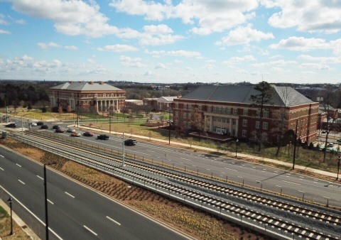 Light rail tracks across the street from the UNC Charlotte Campus. Photo: UNC Charlotte Urban Institute