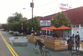 A 'parklet' on Camden Avenue could add seating for popular Price's Chicken Coop. Photo: Completeblocks.org