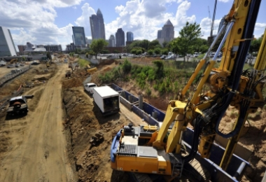 Construction along the Blue Line Extension, photo from 11th Street looking at uptown Charlotte skyline. Photo: Nancy Pierce