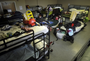 Clients' possessions in the Salvation Army Center of Hope. Photo: Nancy Pierce