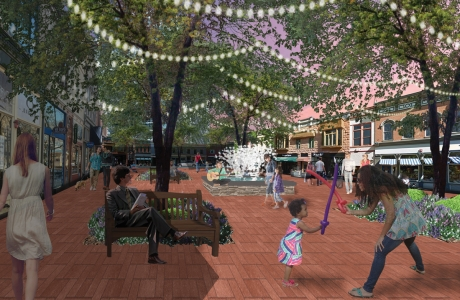 UNCC urban design student Jenna Young envisions a plaza near today's SouthPark mall.
