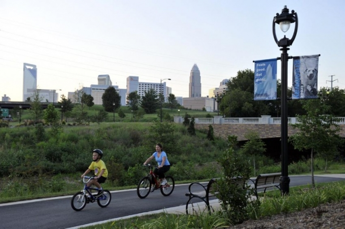 Bicycling on Charlotte greenway. Photo: Nancy Pierce