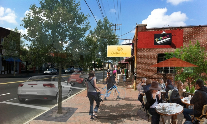 A block along Central Avenue in Plaza Midwood, after an imagined makeover. Image: Completeblocks.com