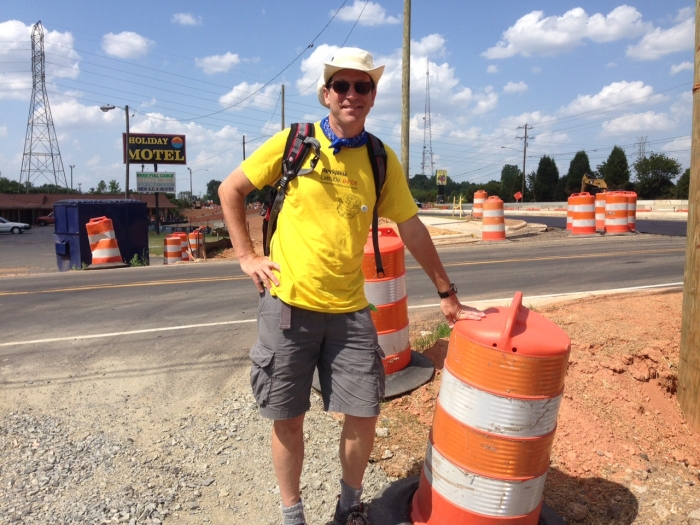 Scott Huler retraces John Lawson's trek on N.Tryon St. June 16 2015. Photo: Mary Newsom