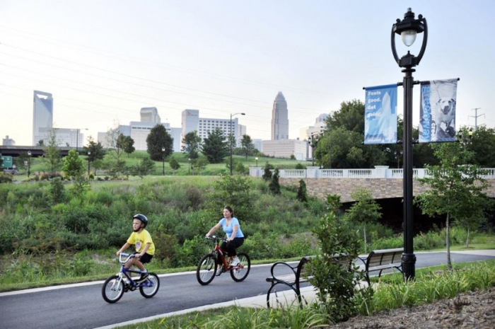 Cyclists use the Little Sugar Creek Greenway. Photo: Nancy Pierce