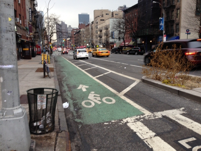 A protected bike lane in New York City. Photo: Mary Newsom
