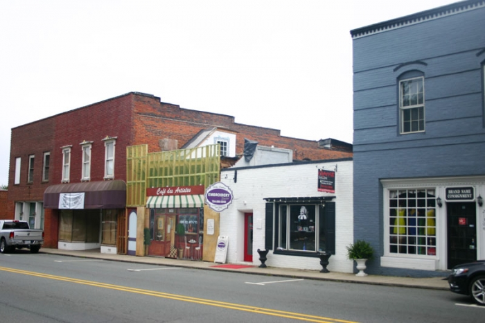 This block of older buildings on Catawba Avenue in downtown Cornelius has lured new businesses. Photo: Chuck McShane