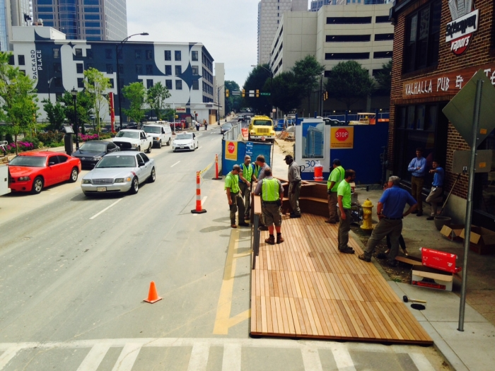 Parklet on South Church Street under construction. CDOT photo