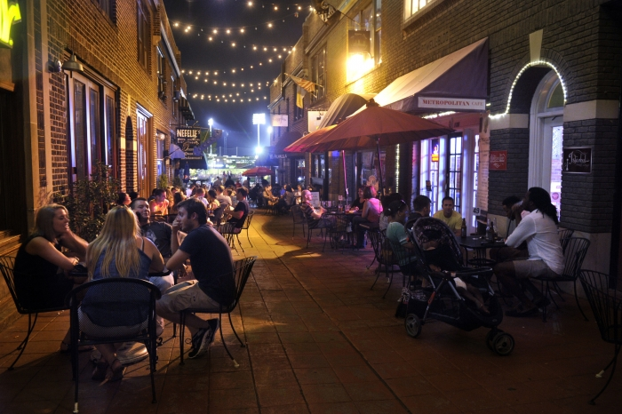 Latta Arcade, in Charlotte during a busy night in the city. Photo: Nancy Pierce