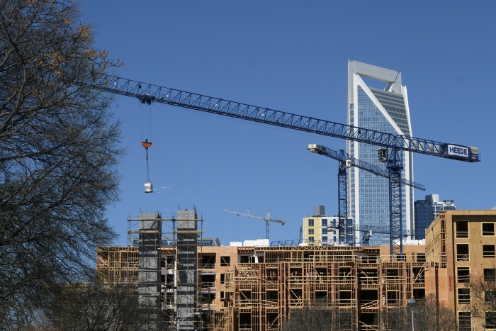 The Savoy apartments under construction along Stonewall Street in uptown Charlotte, photographed in March. Photo: Nancy Pierce