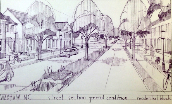 Consultant's sketch, pinned up for the public, envisions a residential section of N.C. 16. Graphic: Lawrence Group