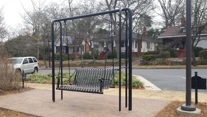 Swing made by Tucker Ornamental of Rock Hill.
