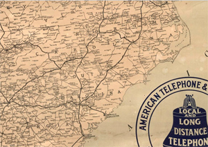 An image of NC from the 1910 Bell Telephone Map