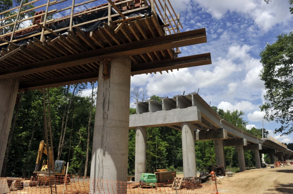 Bridge over Toby Creek on UNC Charlotte campus will be the longest of the light rail project. Photo: Nancy Pierce 6-11-15