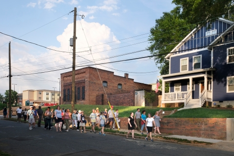 A Charlotte City Walk in the Belmont Neighborhood. Three structure demonstrate the changes in Belmont: From left: new affordable housing apartments, historic neighborhood music venue now a private residence, a new large house. These are on Harrill Street. Photo: Nancy Pierce.