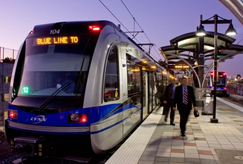 A station along the Blue Line light rail in Charlotte. Photo: Charlotte Area Transit System