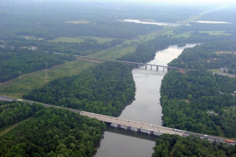 The I-77 bridge (foreground) over the Catawba River, south of Charlotte. Photo: Nancy Pierce
