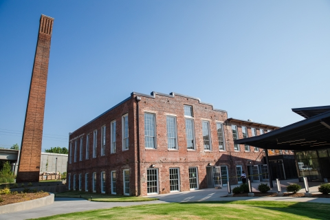 Optimist Hall, a food hall and Duke Energy Innovation Center, is in a reused mill that dates to 1891.