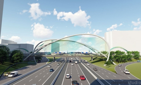 Artist's rendering of the pedestrian bridge across Interstate 277 in Charlotte
