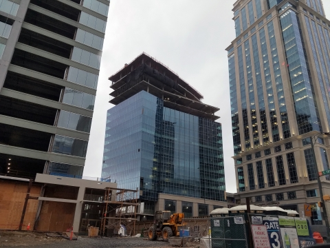 Three new office buildings - for Ally Financial, Honeywell and Bank of America - in uptown Charlotte. The corner of Stonewall and Tryon was formerly occupied by a Goodyear auto shop and the Charlotte Observer building. Photo: Ely Portillo