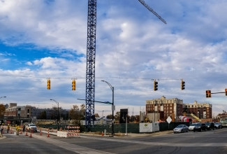 An apartment construction site at 500 West Trade Street in uptown Charlotte. Photo: Nathan Griffin