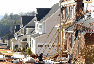 Houses under construction in southwest Charlotte