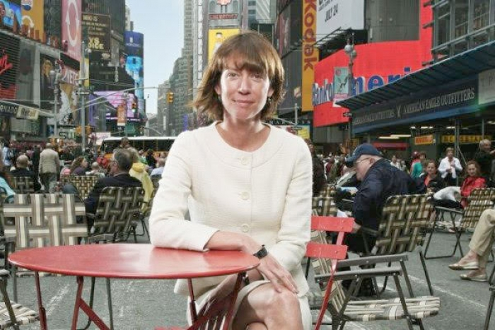 Janette Sadik-Khan sits in Times Square.