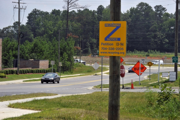 Rezoning sign near I-485 in 2014. Photo: Nancy Pierce