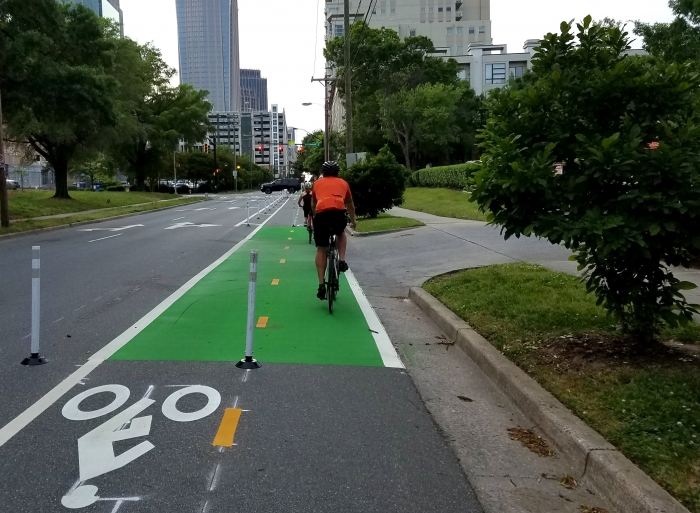Bicycling on Charlotte's new uptown cycle track.