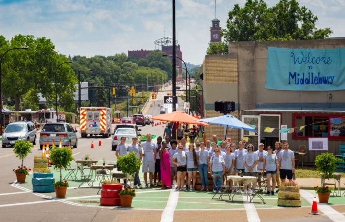 Group in front of Better Block project in Middlebury