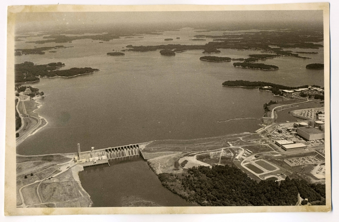 An aerial shot of the Cowan's Ford Dam and Lake Norman in the 1980s. Photo Courtesy of Mooresville Public Library