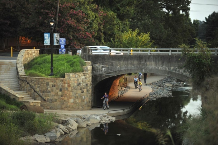 Little Sugar Creek Greenway, with the recently daylighted creek and urban greenway section.  Photo: Nancy Pierce.