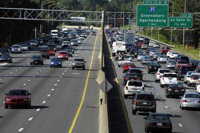 Traffic on I-77 near uptown Charlotte. Photo: Nancy Pierce