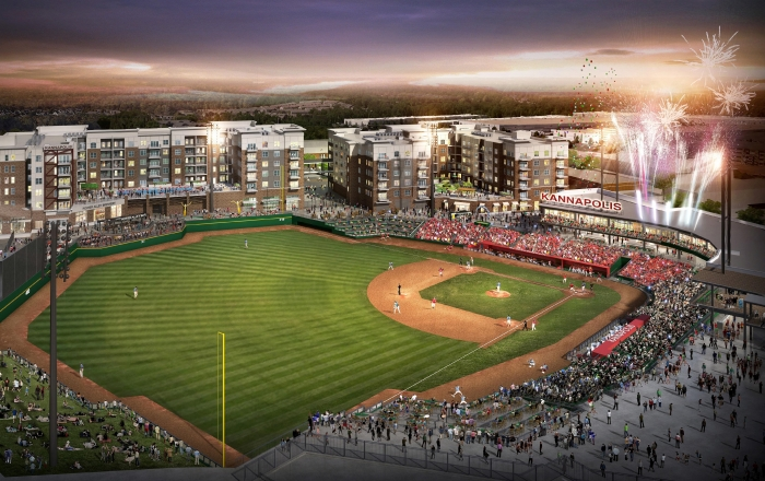 Kannapolis is hoping that a new baseball stadium will help spark a downtown revival, more than 15 years after the closure of Cannon Mills' textile plant changed the city forever. Rendering courtesy city of Kannapolis.
