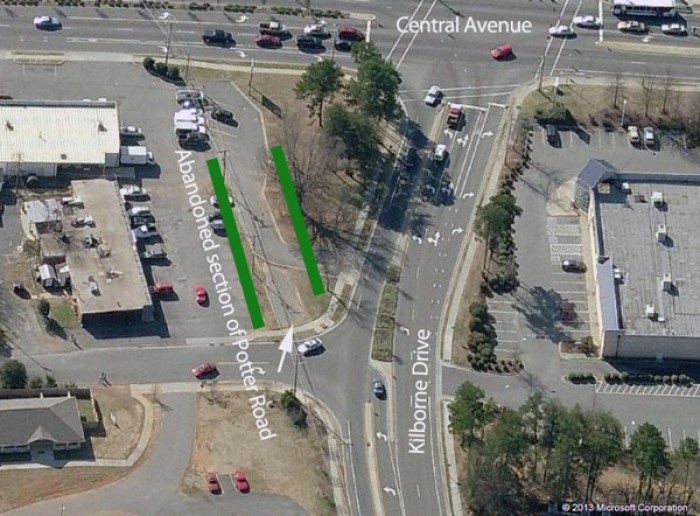 A small section of the historic Potter Road can be seen near the intersection of Central and Kilborne in East Charlotte.