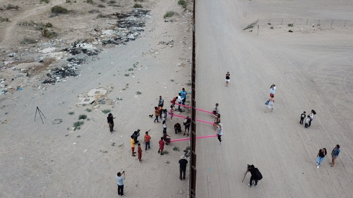"An aerial view of ""Teeter-Totter Wall,"" a reimagining of the border wall between the US and Mexico by Ronald Rael and partner Virginia San Fratello. Courtesy Ronald Rael."