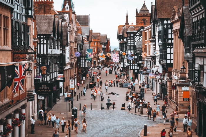 A pedestrian-only plaza in Chester City, UK. Photo by Rachel Bradshaw on Unsplash